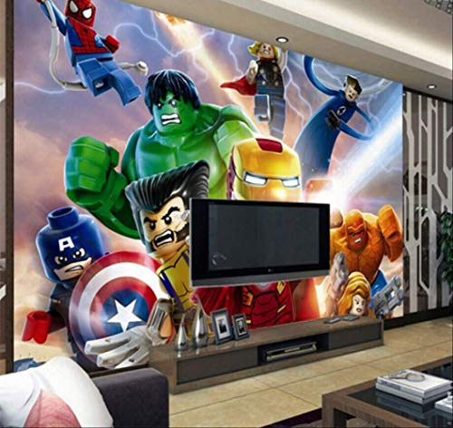 Foto Personalizada 3d Lego Vengadores Fondos De Pantalla Niños Dibujos Animados Animación Niños Dormitorio Habitación Decoración Tv Fondo De Pared Cubierta Ancho 400cm * Altura280cm Un