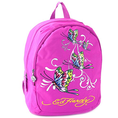 Ed Hardy Girls' Misha Butterfly Glitter Backpack- Violet Purple