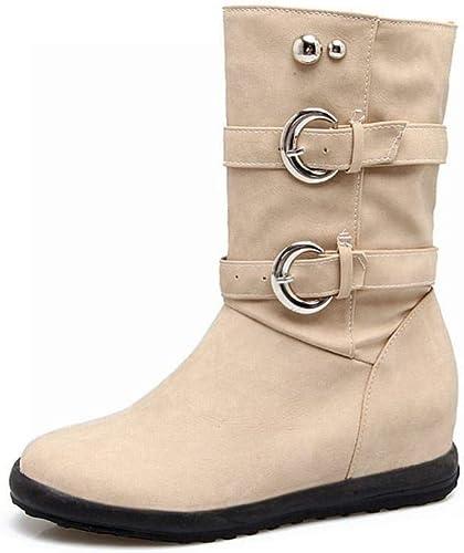 Fuxitoggo zapatos de mujer - botas Martin de otoño e Invierno Frojoación Botines botas Cortas de tacón bajo 36-43 (Color   Buff, tamaño   43)
