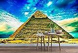 Fotomurales Papel pintado tejido no tejido Pirámide del cielo azul Murales moderna Arte de la pared Decoración de Pared decorativos 400x280 cm