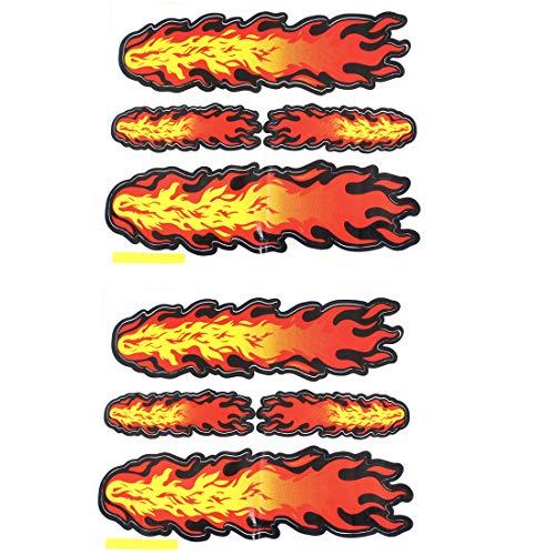 sourcingmap Mur Porte Voiture Décoratif Feu Flamme Autocollant Autocollants 9 x 5.5cm Paire Rouge Orange Jaune