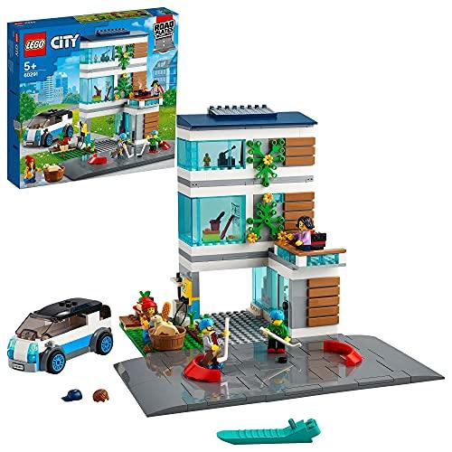 LEGO 60291 City Modernes Familienhaus, Puppenhaus Bauset mit Straßenplatten