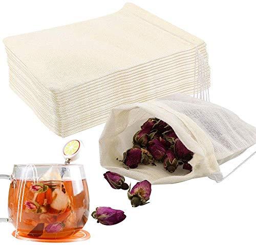 Housim - Bolsas de filtro de té, 50 unidades, reutilizables, de algodón, sin blanquear, filtro de filtro, respetuoso con el medio ambiente, difusor de té de hojas para té...