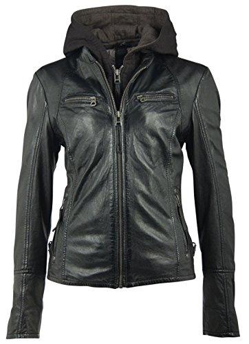 Gipsy Damen Lederjacke Kurzjacke Bikerjacke Kapuze Lammnappa schwarz (XL, Black)