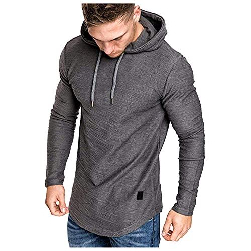 Camiseta de manga larga con capucha para hombre, de verano, de piel mixta, con dobladillo irregular, blusa gris XXXL