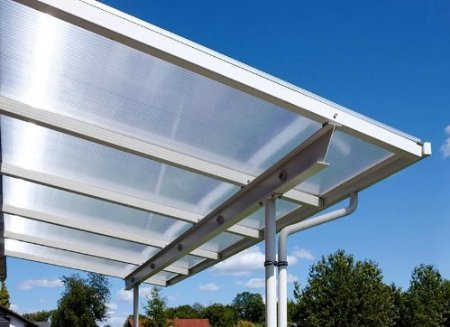 Überdachung Terrasse Bausatz 8x4m Stegplatten und Profile für Unterkonstruktion (klar/farblos)