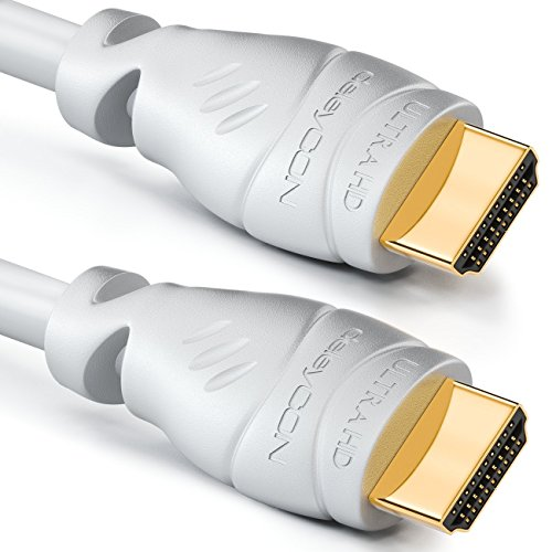deleyCON 6m HDMI Kabel 2.0a/b - High Speed mit Ethernet - UHD 2160p 4K@60Hz 4:4:4 HDR HDCP 2.2 ARC CEC Ethernet 18Gbps 3D Full HD 1080p Dolby - Weiß