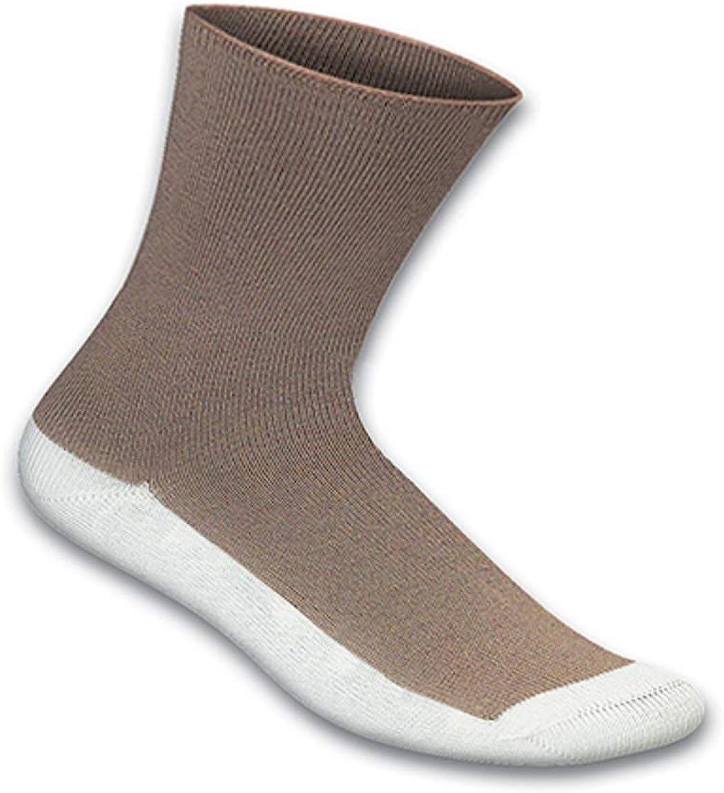 Orthofeet Non-Binding Non-Constrictive Circulation Seam Free Bamboo Brown Casual Dress Socks, 3 Pack