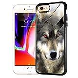 Schutzhülle für iPhone 8 Plus, iPhone 7 Plus, umwerfender weicher Rand, Glas, 0030 Red Eye Wolf GL12484