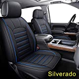 LUCKYMAN CLUB 56-SLD Seat Covers Fit for 2007-2020 Chevy Silverado Sierra 1500 / 2500 HD / 3500 HD Crew,Double,Extended Cab with Water Proof Faux Leather (Black & Blue Full Set)