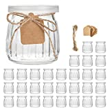 Glass Jars,Encheng 7 oz Glass Yogurt Jars With Lids(PE),Replacement Glass Pudding Jars With Plastic Tops,Clear Glass Yogurt Container With Twine n Tag For Milk,Jams,Jelly,Mousse,Dishwaresafe 30 Pack …