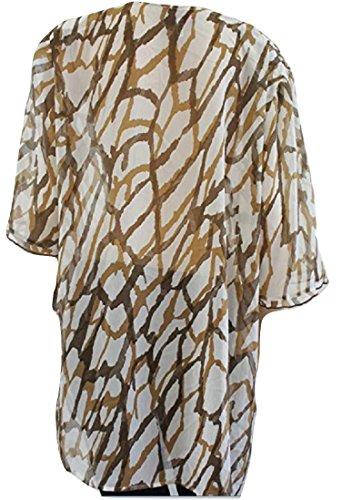 Chalou Camisas para Mujer Marrón BrownWhite Mix 46