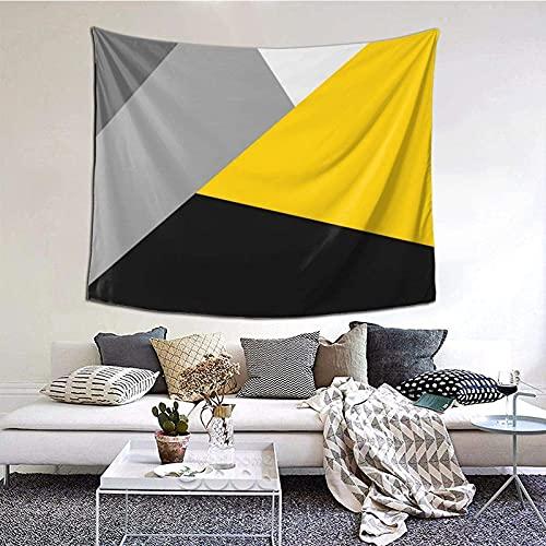 Tapiz para colgar en la pared, simple, moderno, gris, amarillo y negro, manta de pared para sala de estar, dormitorio, decoración del hogar, 152 x 130 cm