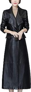 DISSA P8112 Women Faux Leather Long Overcoat Slim Coat Leather Jacket