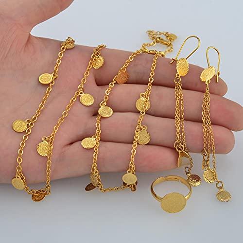UCJHXFR Juego de joyas con pequeñas monedas, collar, pendientes, pulsera, anillo, oro árabe, para niños, moneda de metal # 049706
