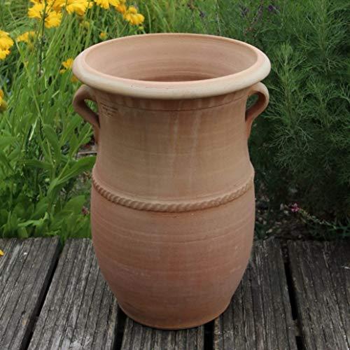 Kreta-Keramik   handgefertigte frostfeste Terracotta Pflanzamphore mit Henkeln   40 cm   dekoratives Pflanzgefäß zum bepflanzen,Cistus