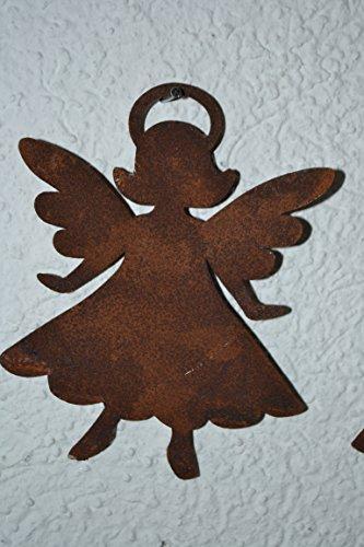 Maiso Engelsfigur -hübscher Engel -Kleiner hübscher Engel Anny zum Aufhängen aus Stahl mit Edelrost, Höhe 14 cm, Breite 10 cm, für Haus und Garten