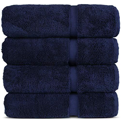 "Luxury Hotel & Spa 100% Cotton Premium Turkish Bath Towels, 27"" x 54'' (Set of 4, Navy Blue)"
