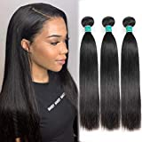 ALI GRACE Brazilian Straight Human Hair 3 Bundles 12 14 16inch 10A Unprocessed Virgin Straight Human Hair Natural Color Bundles For Black Women