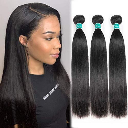 ALI GRACE Brazilian Straight Human Hair 3 Bundles 16 18 20inch 10A Unprocessed Virgin Straight Human Hair Weave Natural Color Bundles For Black Women