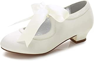Ivory Satin Bridesmaid Bridal Flower Girls Shoes Size 1,2,3,4,5,6 Meadow H//H