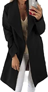 Howely Womens Loose Cardigan Longline Solid Turn Down Collar Coat Overcoat