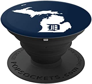 Detroit Baseball - Michigan Home Map Bengal Tiger Gift - PopSockets Grip and Stand for Phones and Tablets