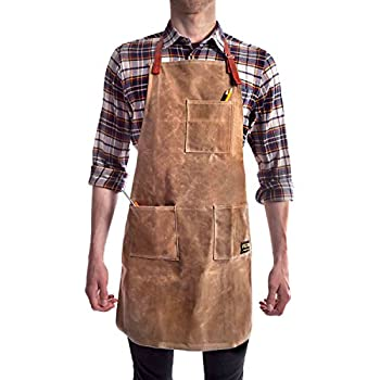 Vulcan Workwear Utility Apron - Multi-Use Shop Apron with Pockets - Waxed Canvas Tool Apron - Mens Gifts Dads Gift Gifts for Men Wood Working Gift Ideas Wood Working Gift Man Gifts