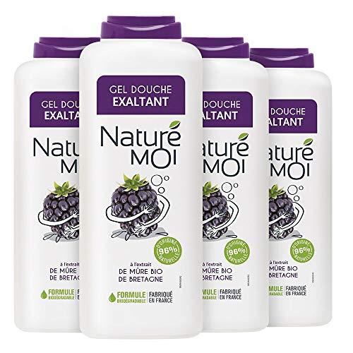 Naturé Moi – Gel douche exaltant à l'extrait de mûre bio de Bretagne – Hydrate et nourrit les peaux normales à sèches – Lot de 4 – 400ml