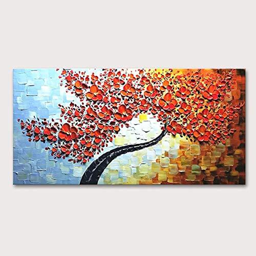 Pintura Al Óleo Sobre Lienzo,Abstracta Naranja Paleta Cuchillo Flor Pinturas Al Óleo En Lienzo Pared Arte 100% Pintado A Mano Galería Decorativa Envuelto Flores Contemporáneas Obras De Arte Para