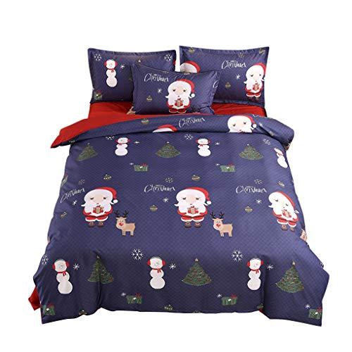Guangcailun La hoja de ca 3pcs de Navidad Conjunto de ropa de ca edredón funda nórdica Kit de niños decoración del dormitorio Hoja de ca Fundas
