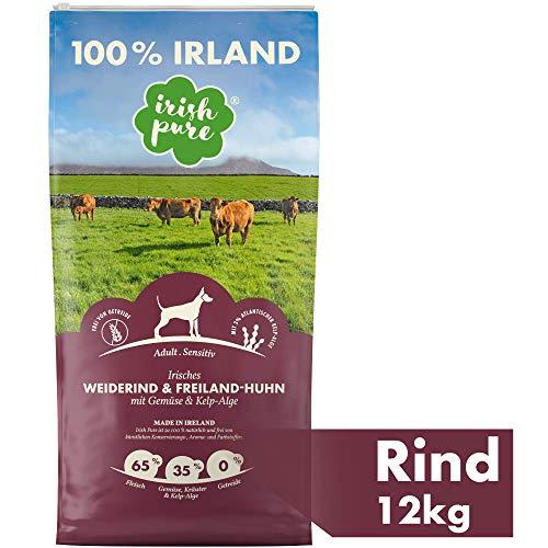 Irish Pure Adult Weiderind & Freiland-Huhn mit Kelp-Alge - Trockenfutter für Hunde, Hoher Fleischanteil, Vitamine, Getreidefrei, Sensitiv, Hundetrockenfutter, Hundefutter für alle Rassen (12kg)