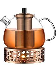 ecooe 1500 ml glazen theepot met theepot warmer, brons champagne thee maker met verwijderbare roestvrijstalen zeef & deksel
