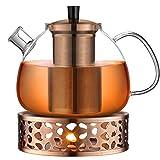 ecooe Original 1500ml Teekanne Glas Borosilikatglas Teebereiter mit 18/10 Edelstahl Stövchen Abnehmbare Sieb Rostfrei Hitzebeständig für schwarzen Tee grüner Tee Fruchttee duftender Tee und Teebeutel