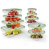 Home Fleek - Set de 9 Envases de Vidrio Mixto para Alimentos | Recipientes Herméticos de Cristal...