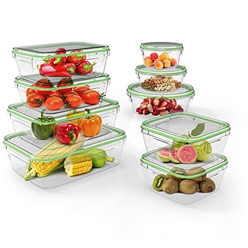 Home Fleek - Set de 9 Envases de Vidrio Mixto para Alimentos | Recipientes Herméticos de Cristal Para La Cocina | Apto para Lavavajilla, Horno, Microondas, Congelador | Sin BPA (Verde, Set de 9)