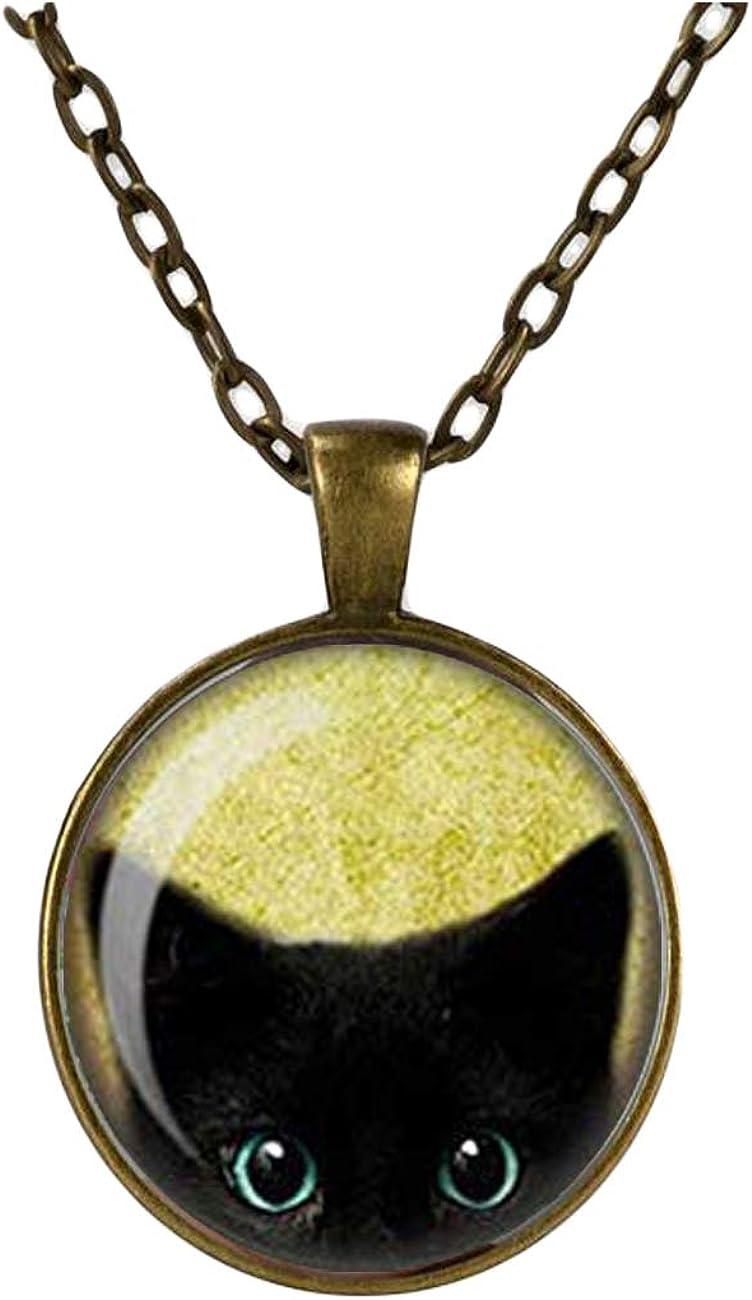 Cute Cheeky Black Cat Peeking Pendant Necklace, Glass Cameo Cabochon Tile Necklace (Copper)