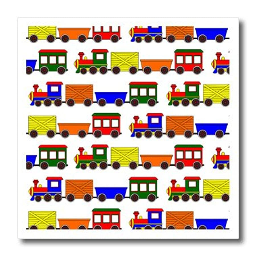 3dRose ht_25424_3 Cute Train Print Primary Colors - Iron on Heat Transfer, 10 by 10