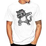 Tefamore Hommes Impression T-Shirts Chemise à Manches Courtes été Blouse (XXL, Blanc-4)