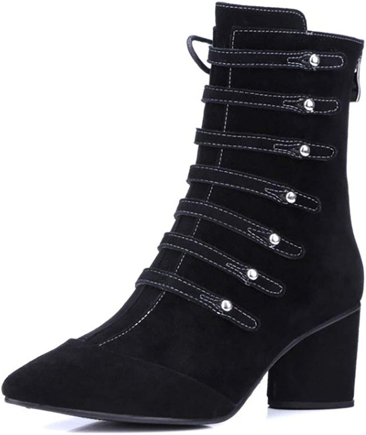 Women's Martin Boots Leather Matte Pointed Boots lace-up Rivets Thick with high Heel Boots Autumn and Winter