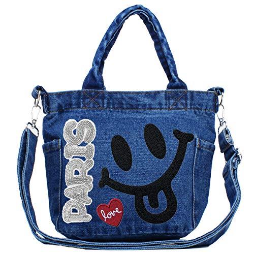 GISELLE 2WAY ショルダーバッグ トートバッグ レディース デニム 軽量 斜めかけ サイドポケット付 ファスナー ミニ 小さい バッグ bag オリジナル (インディゴブルー)