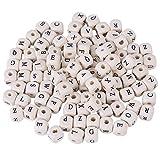 Estink- Trimming Shop Buchstaben-Perlen aus Holz, mit schwarzem Alphabet-Buchstaben, Würfel für...