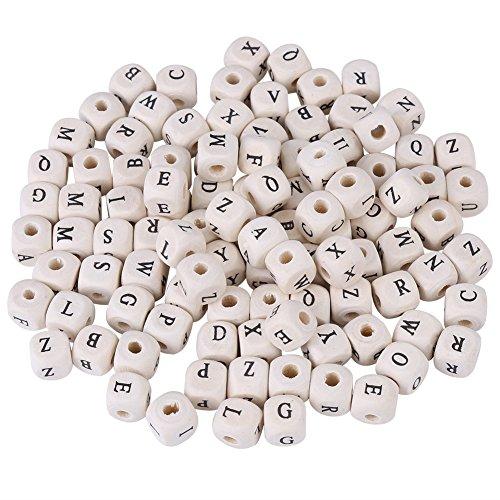 100pcs perline lettera di legno, quadrato misto lettera cubo distanziatore perline distanziali per gioielli fai da te fare, bracciali, collane, portachiavi