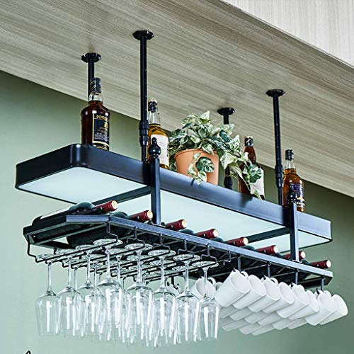 FYHH-JZHY 2-Layer High-End Wine Rack Adjustable Ceiling Decoration Shelf Stemware Holder To Hang Cocktail Or Champagne Flutes For Kitchen Bar Pubs Or Restaurants Rack,80Cm(31.5In),80Cm(31.5In)