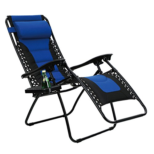 PHI VILLA Padded Zero Gravity Lounge Chair Patio Adjustable Reclining with Cup Holder for Outdoor Yard Porch (Grey)