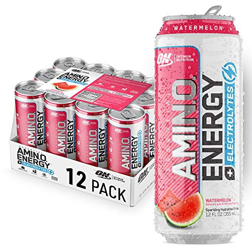 Optimum Nutrition Amino Energy + Electrolytes Sparkling Hydration Drink - Pre Workout, BCAA, Keto Friendly, Energy Powder - Watermelon, (Pack of 12)