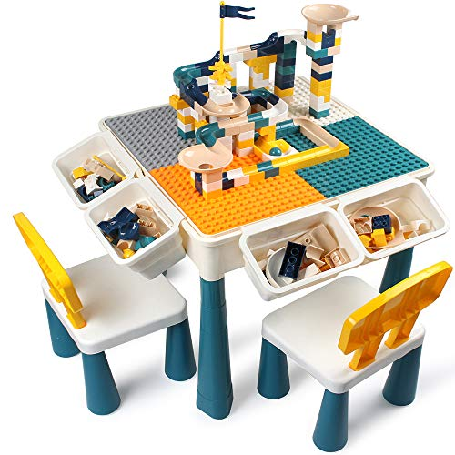 GobiDex 7 in 1 Multi Kids Activity Table Set with 2 Chairs and 100 Pcs Large Size Blocks Compatible with Classic BlocksWater TableSand Table and Building Blocks Table for Toddlers Activity