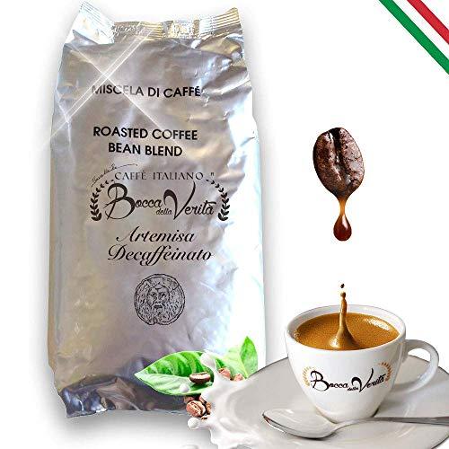 BOCCA DELLA VERITA - Italienische Kaffeebohnen, Aroma ARTEMISA ENTKOFFEINIERT, 1 kg Packung, Natürlich und handwerklich gerösteter Kaffee, 100% Made in Italy, Rainforest und UTZ zertifiziert
