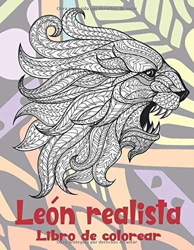 León realista - Libro de colorear