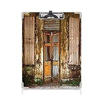 クリップボード 素朴な家の装飾 ミニバインダー 破損したぼろぼろの家に乗り込んださびたドアと金型の窓の家の装飾 用箋挟 クロス貼 A4 短辺とじマルチ